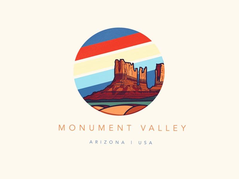 Monument Valley vacation summer usa arizona monument valley desert warm vintage retro simple minimal tourism fun illustration logo icon badge procreate