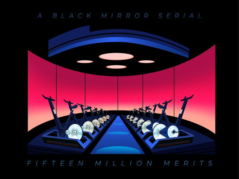 15 Million Merits illustrator titlecard title show series illustration geometric color minimal eerie bold red tech 15 million merits poster netflix black mirror
