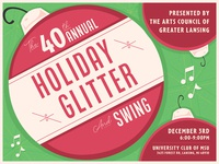 Holiday Glitter 2019 print flyer holiday card holiday green poster color red geometric illustrator event design logo illustration