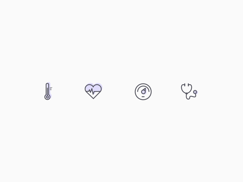 Vital Signs Icon Set stethoscope thermostat doctor blood beat heart temperature medicine medical icons vital