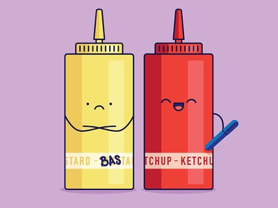 Condiments purple yellow red graphic design illustration ketchup mustard condiments