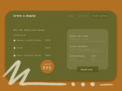 Daily UI :: 002 - Credit Card Checkout salon ui texture checkout credit card 002 daily ui natural hair