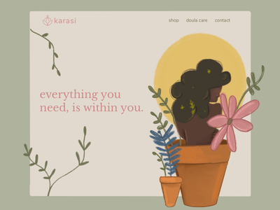 Daily UI :: 003 - Landing Page illustration texture plants web leaves landing page daily ui 003 daily ui woc black woman