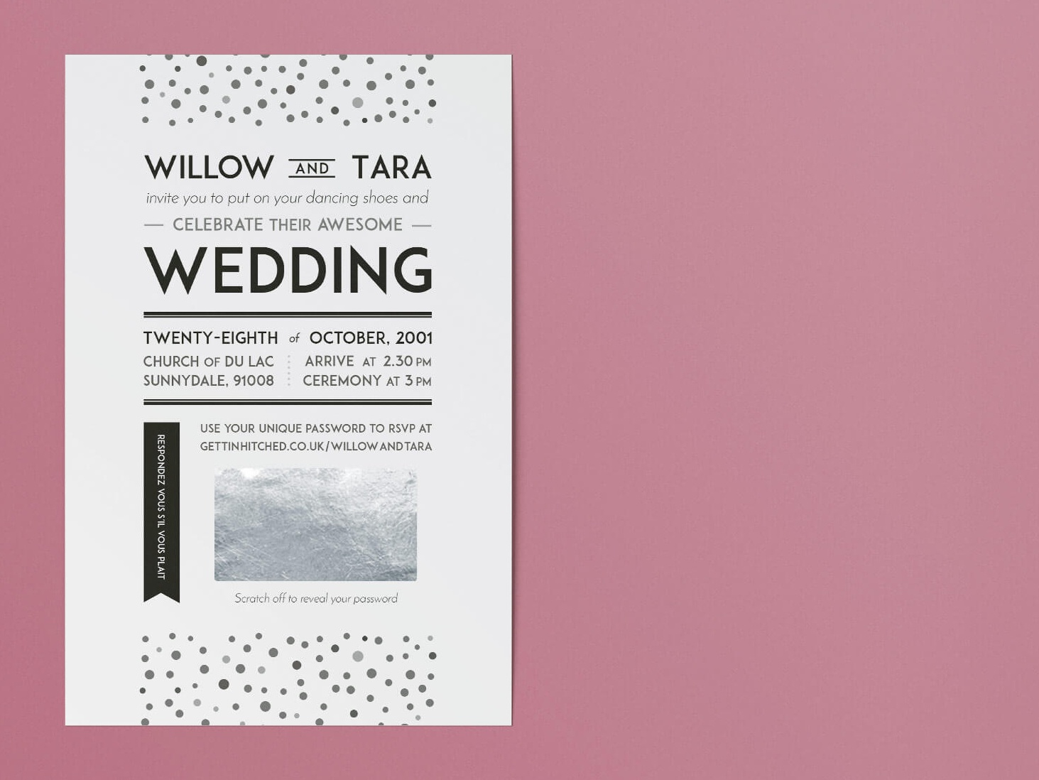 1920s-inspired wedding invitation gettin hitched rocks clean polka dot minimal elegant vintage 1920s black and white wedding invitation invitation