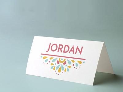 Festival-feel wedding place card