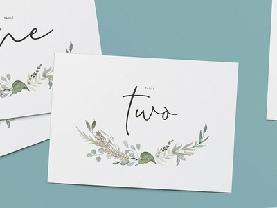 Vintage watercolour wedding table number signs