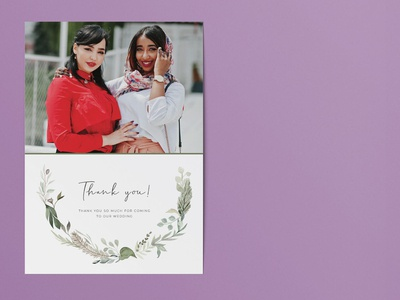 Vintage watercolour wedding thank you card