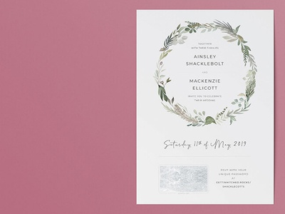 Vintage watercolour wedding invitation
