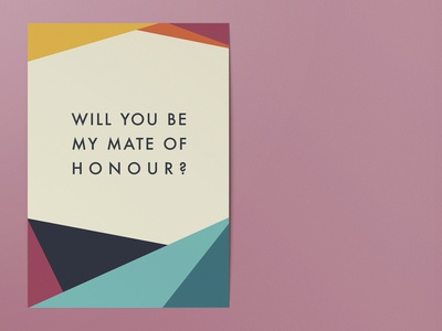 Colourful, geometric wedding proposal card