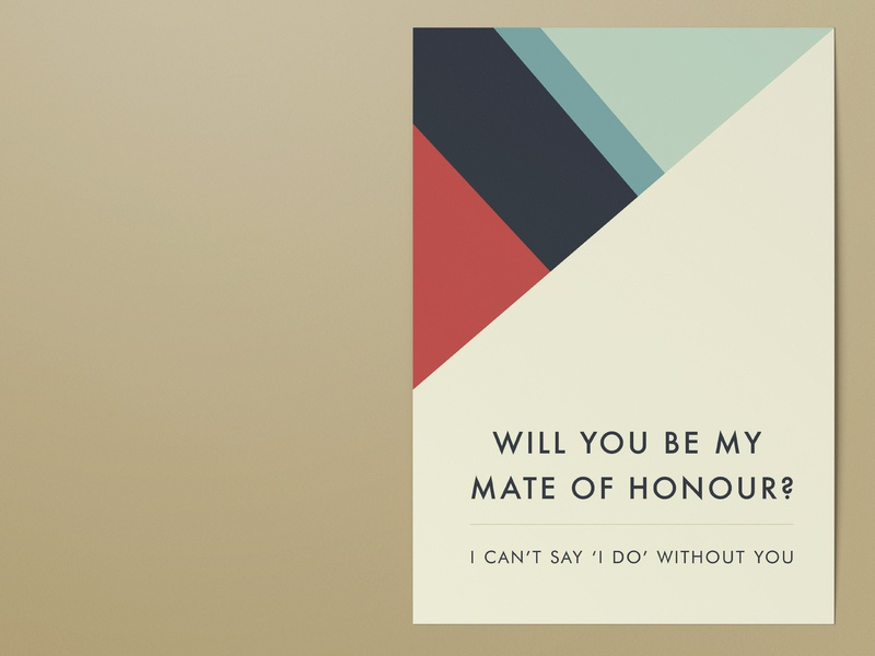 Geometric wedding proposal card stripes wedding card wedding proposal card mate of honour maid of honour gettin hitched rocks geometric best man