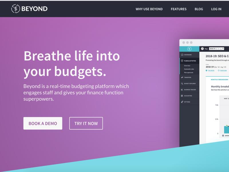 Beyond landing page geometric blue purple beyond landing page financial software