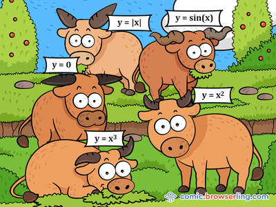 Math Cows nerd comic browserling horns horn function graph graph y x cube square sinus sine functions function mathematics maths cows cow math