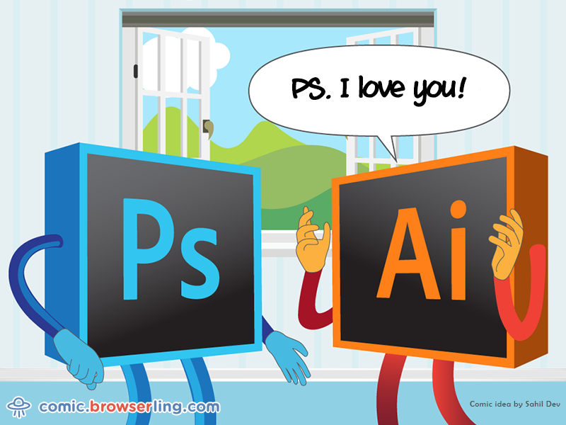adobe photoshop and illustrator love story by browserling dribbble