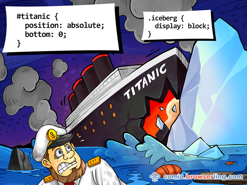 Titanic and Iceberg CSS Pun by Browserling on Dribbble