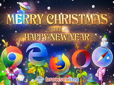 Merry browserful Christmas and Happy browserful New Year! browserify new year opera safari edge firefox chrome card christmas browserling