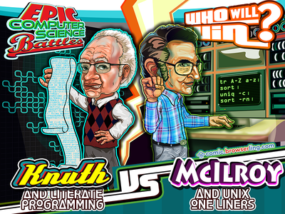 Epic Computer Science Battles: Don Knuth vs Doug McIlroy battle browserling epic computer science battles unix one-liner literate programming douglas mcilroy donald knuth mcilroy knuth