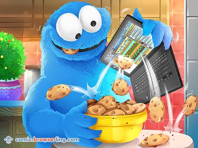 Cookie Monster Discovers Cookie Clicker joke comic browserling cookies cookie browsers browser game cookie clicker cookie monster