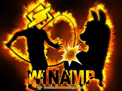 Winamp Whips Llama's Ass fire joke comic browserling music player ass llama whip mp3 winamp