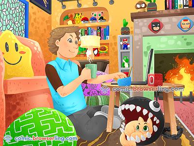Nerd Cave nerds comic browserling laptop tea workspace mancave man cave nerdcave nerd cave