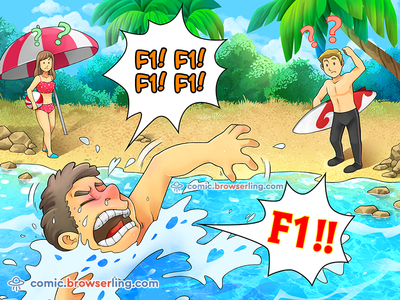 F1! surfing beach joke browserling comic programming programmer swimming swim water drowning drown help keyboard f1