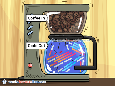 Coffee In, Code Out cico illustration cartoon developer humour devhumour developer humor devhumor joke comic browserling coffee machine caffeine coding code lines programming code out coffee in code coffee