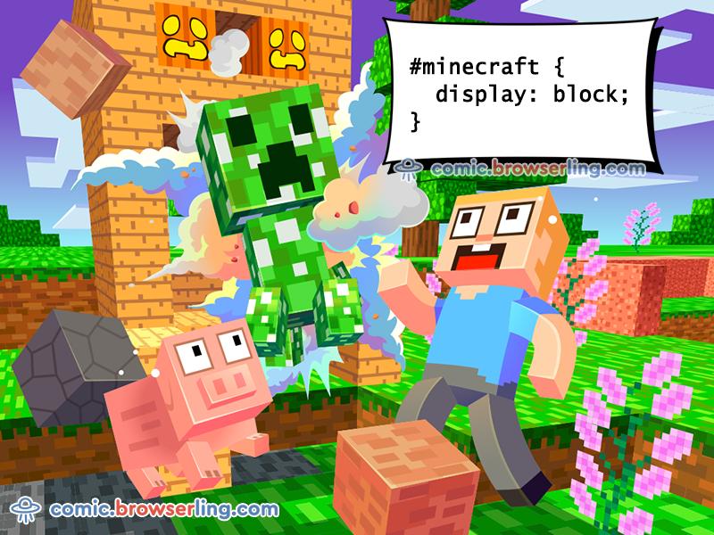 Minecraft CSS Pun web design joke comic browserling css joke devhumor game tsss creeper web development webdev html5 html css 3 css 2 css3 css2 minecraft css pun css