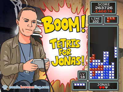 Boom! Tetris for Jonas! ctwc jeff browserling geek comic nerd comic geeks geek nerds nerd web comic comic jonas neubauer jonas boom line piece game tetris