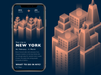 Trip recommendation flight search new york flight isometric skyscraper illustrations trip