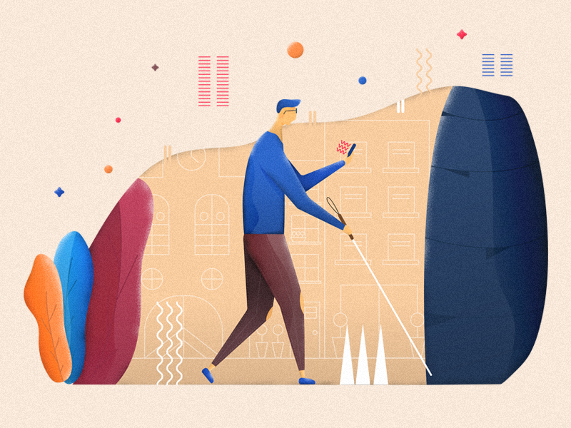 Inclusive design illustration city blind character iilustrator flat inclusive design illustration