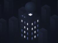 Building in the blue dark city building dark isometric isometric illustration design illustration