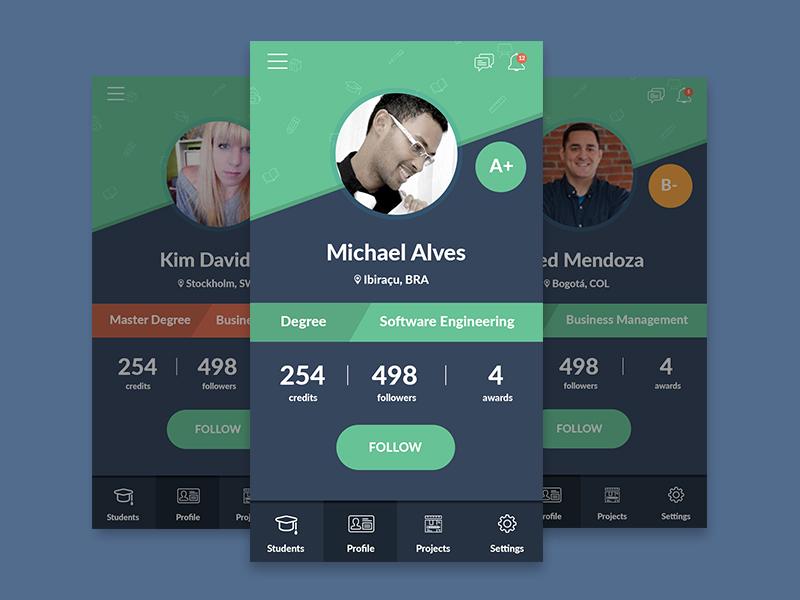 Student Profile Page ui app profile