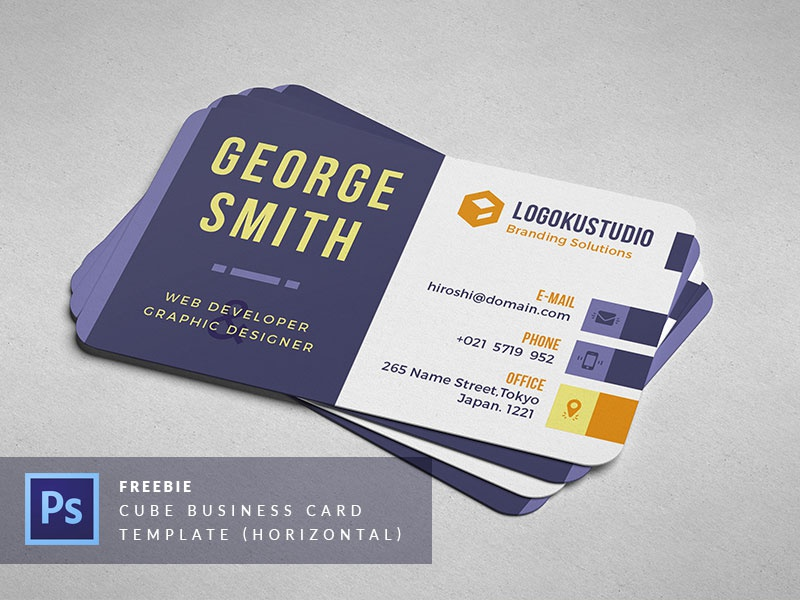 Free cube business card template horizontal by ibrandstudio dribbble cube business card template horizontal reheart Gallery