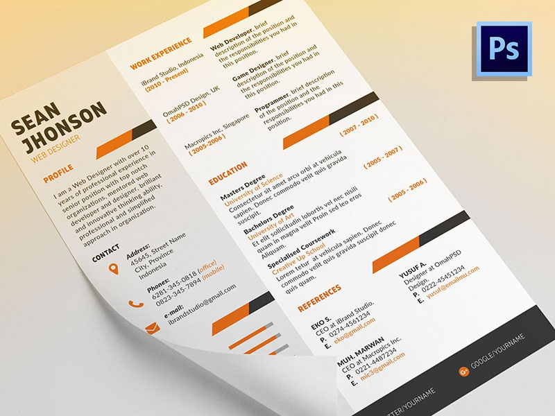 Download Free Ziper Resume Template + Cover Letter (5 Colors, PSD)