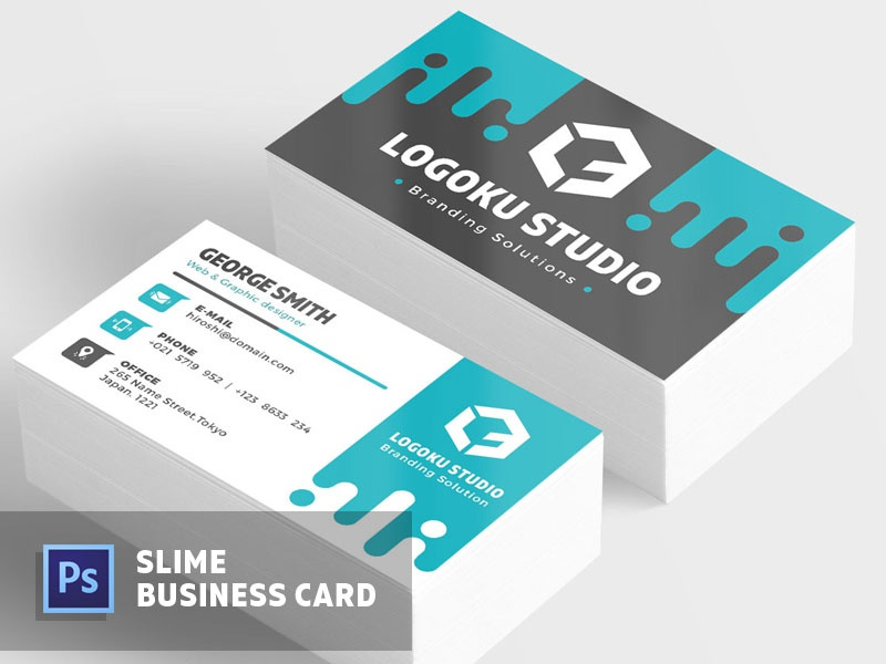 Free Slime Business Card Template By Ibrandstudio Dribbble Dribbble
