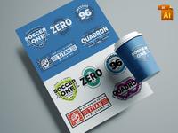 Free 5 Customizable Retro Logo Badges (AI, EPS)