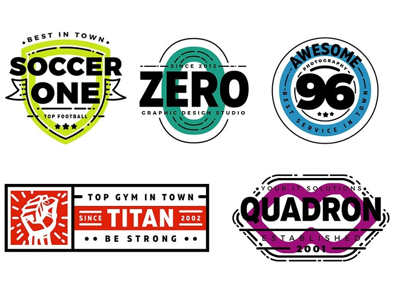 Free 5 Customizable Retro Logo Badges (Full Color Version) color retro free template logo eps badge ai