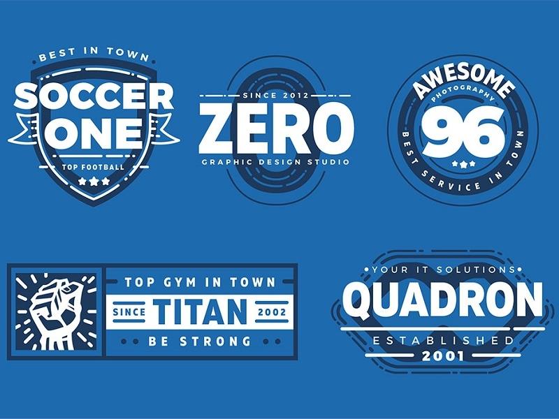 Free 5 Customizable Retro Logo Badges (2 Colors Version) 2 colors retro free template logo eps badge ai