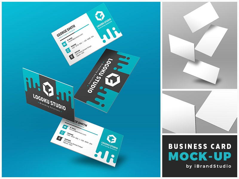Free Floating Business Card Mockup (Scene 1)