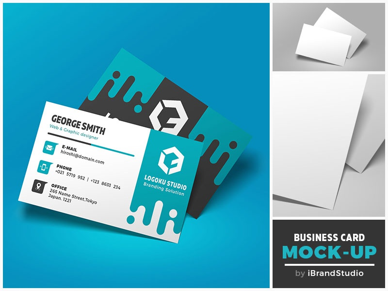 Free Floating Business Card Mockup (Scene 2)