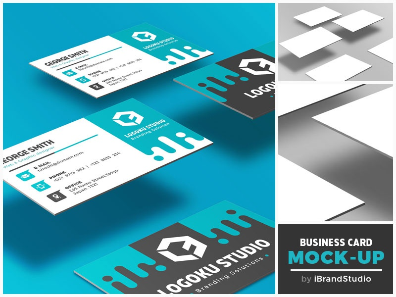 Free Floating Business Card Mockup (Scene 3)