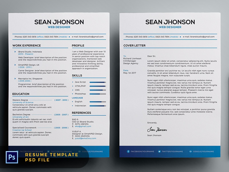 Free Malist Resume Template + Cover Letter (Blue)