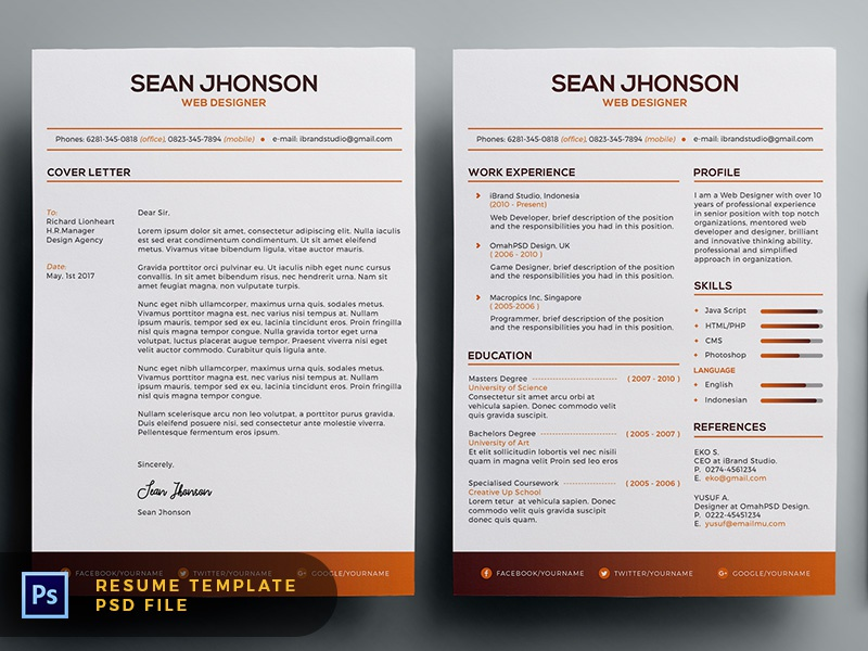 Free Malist Resume Template + Cover Letter (Orange)