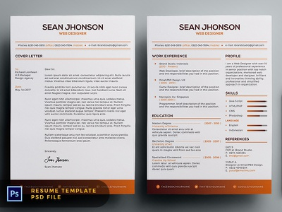 Free malist resume template orange dribbble