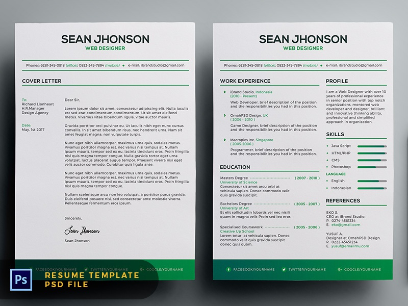 Free Malist Resume Template + Cover Letter (Green) minimalist clean cv cover letter green freebie free template resume