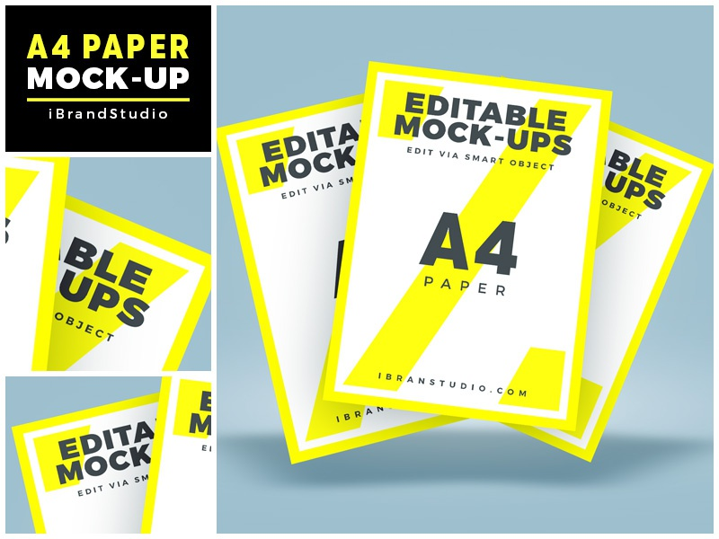 Floating A4 Paper Mockup (Scene 2) smart object poster mockup flyer mockup psd paper mock-up mockup freebie free floating a4