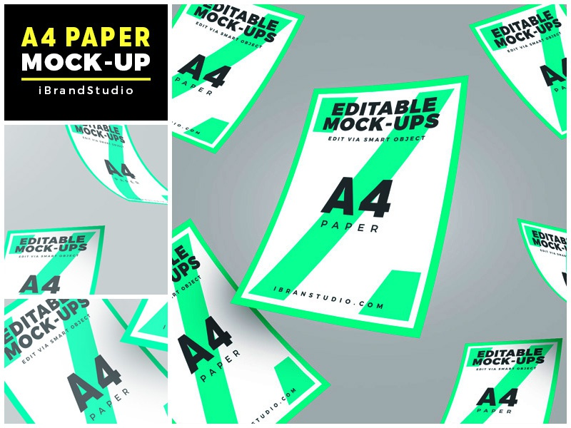 Floating A4 Paper Mockup (Scene 3) smart object poster mockup flyer mockup psd paper mock-up mockup freebie free floating a4