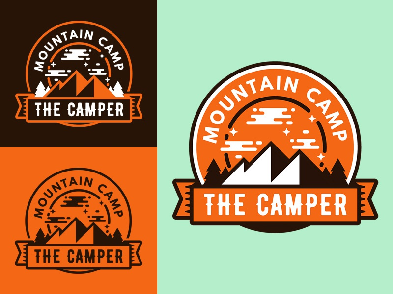 The Camper Badge freebie badge banner emblem mark adventure logo mountain club free outdoor template