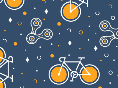 Bike & Chain pattern navy colors citybike pattern vector fixedgear fixie bicycle bike