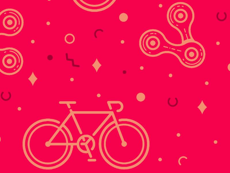 Chain & Bike Pinky Pattern vector pattern chain city bike bicycle fixie fixedgear bike pinky