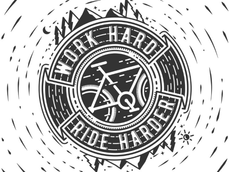 Ride Harder black and white fixedgear fixie bicycle bike illustration vector